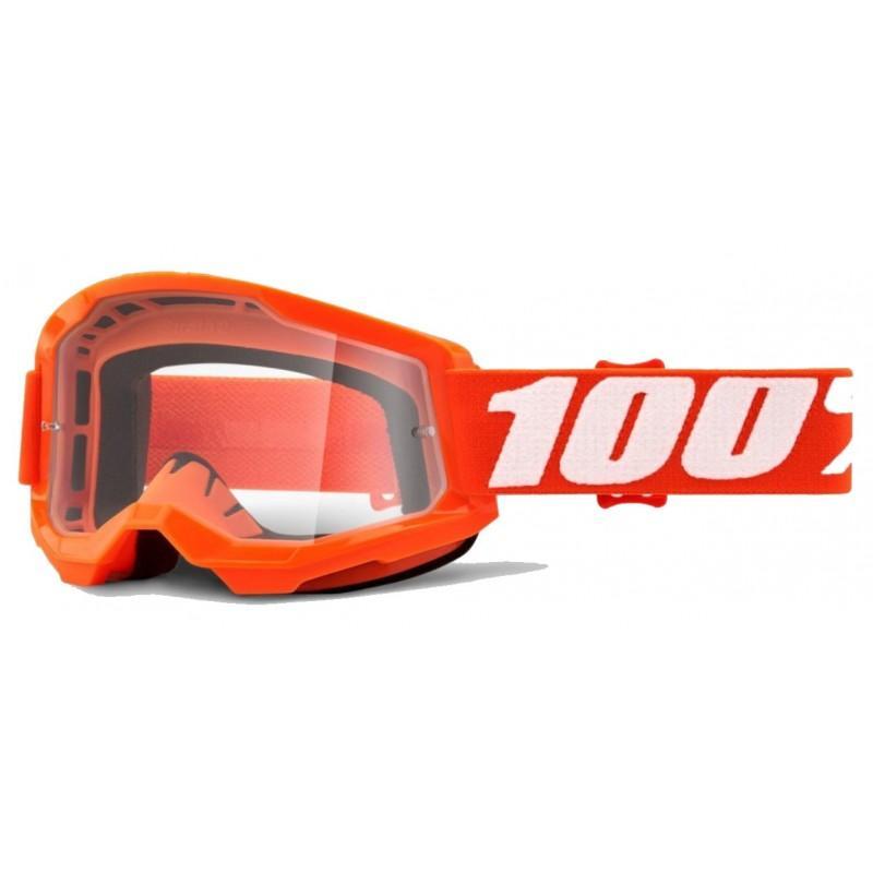Akiniai 100% Strata 2, oranžiniai, su skaidriu lęšiu