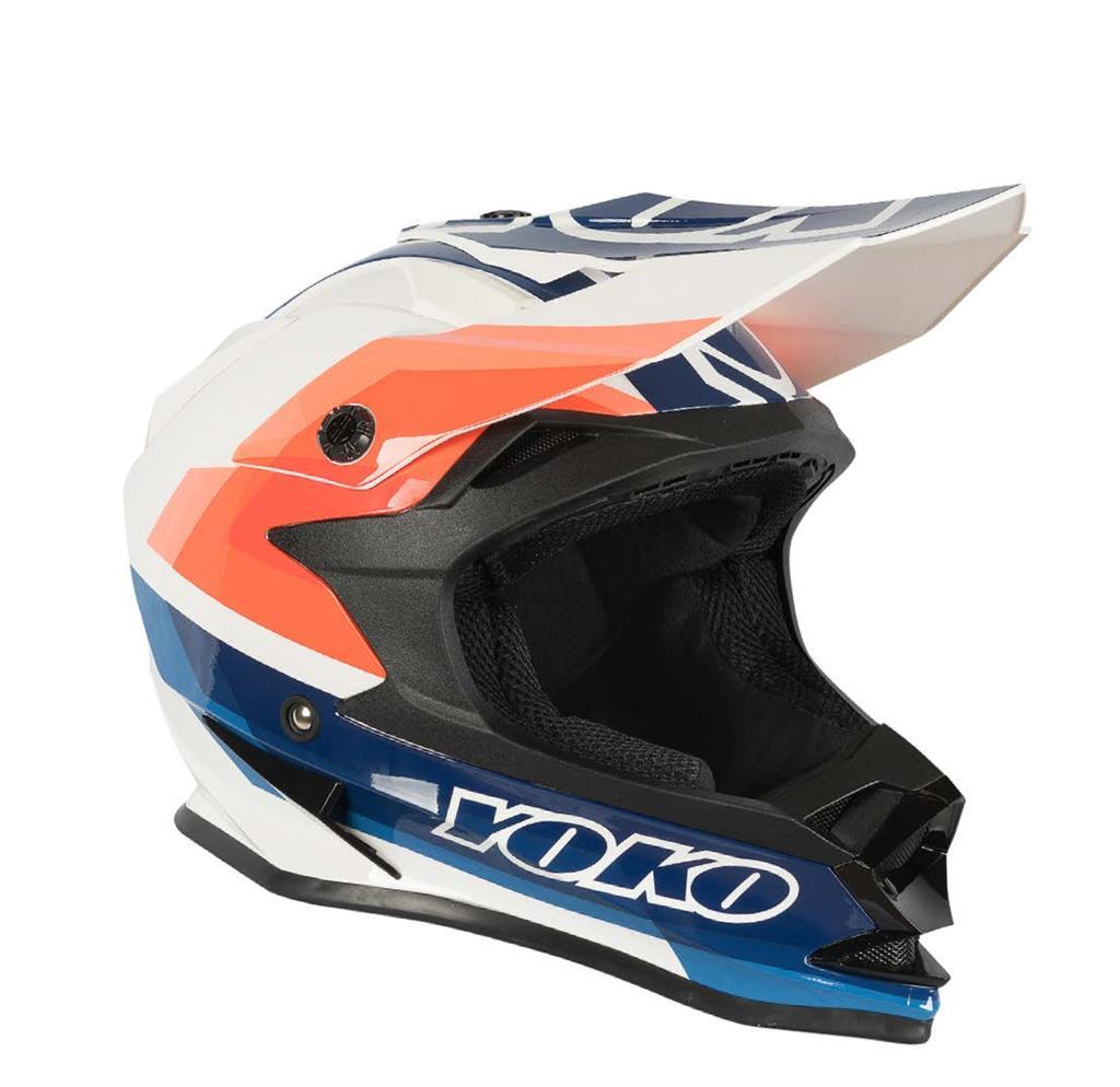 Šalmas  MX helmet YOKO SCRAMBLE white / blue / fire