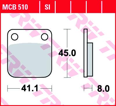 Galinės stabdžių trinkelės kx 65 00- Priekinės CRF150 03-16