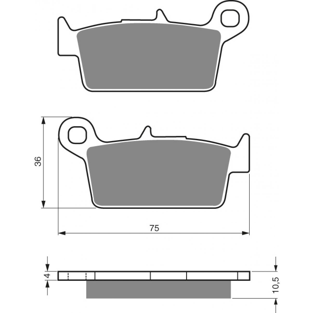 Galinės stabdžių trinkelės KX125/250 01-08; CR85 -08; CR125/250 87-01; RM125/250 96-12; YZ125 97-02; YZ250 98-01