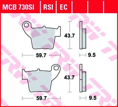 Galinės stabdžių trinkelės CR125/250 02-07 CRF250/450 02-; CRF150 03-15