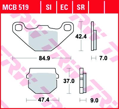 Galinės stabdžių trinkelės RM85 02-04